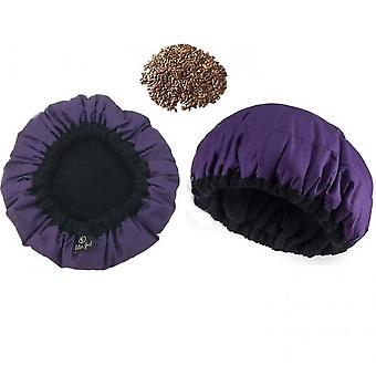 Flaxseed Non-electric Heating Oiling Cap Deep Repair Nursing Cap(Purple)