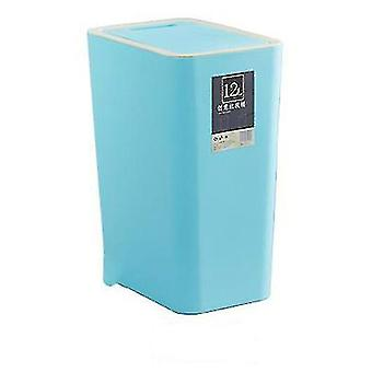 12 liters sorting trash can, rectangular plastic household trash can with lid(Blue)