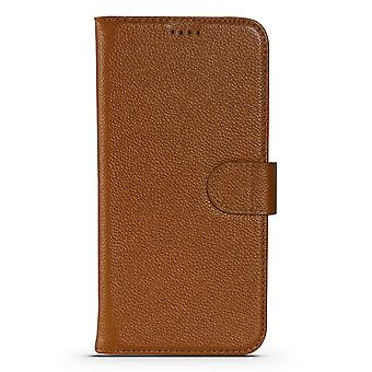 Para iPhone 13 Pro Max Case Fashion Cowhide Genuine Leather Wallet Cover Marrón