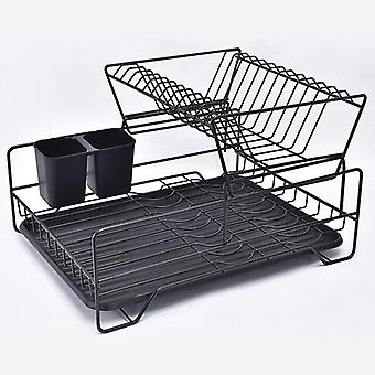 Double Rows Stainless Steel Dishes Drying Rack With Drain Board For Kitchen Counter Dishes Rack