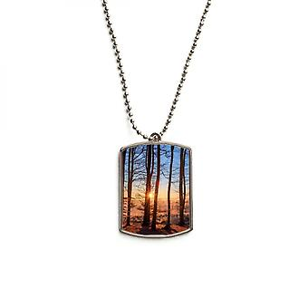 Dark Forestry Science Nature Stainless Steel Pet Tag Pendant