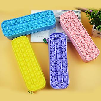 4 Pcs Pencil Case Pop It Fidget Pack, Push Pop Bubble Sensory Toys Pencil Box With Zipper For Kids, Adults Office Stationery Organizer, School Season