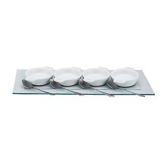 9Pc mini fehér kerámia gratin Bowl a kanalak és az üveg tálalás tálca