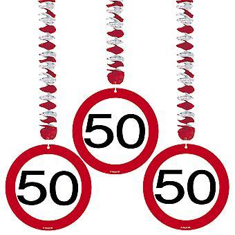 Spiral Garland 3 St. færdselsskilt nummer 50 fødselsdag rotor spiraler