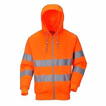 Portwest - Hi-Vis bezpieczeństwa Odzież robocza Zip przodu Bluza z kapturem