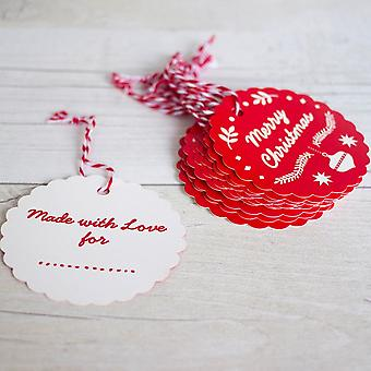Merry Christmas and Happy New Year Scandi Style Gift Tag Set 48 Tags
