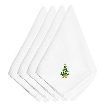 Carolines Schätze EMBT2069NPKE Weihnachtsbaum Bestickte Servietten 4er Set