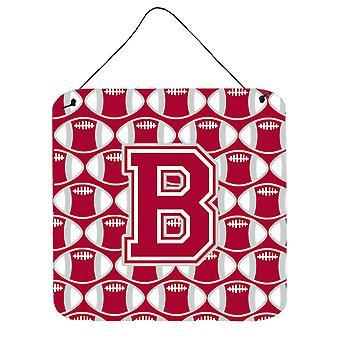 Buchstabe B Fußball Crimson, grau und weißen Wand oder Tür hängen Drucke