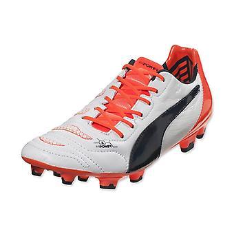 Puma Evopower 1.2 lederen FG voetbal laarzen (wit-oranje)