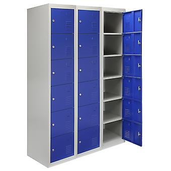 Steel Lockers 6 Doors Lockable Metal Storage Staff Gym Changing Room School Blue