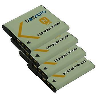 4 x Dot.Foto Sony NP-BN, NP-BN1 erstatningsbatteriet - 3,7 v / 630mAh