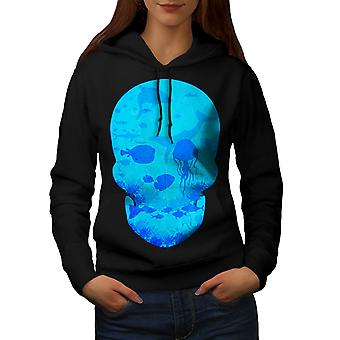 Sea Ocean Water Skull Women BlackHoodie | Wellcoda
