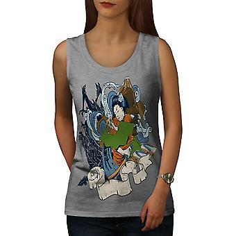 Sea Fantasy Japanese Women GreyTank Top | Wellcoda