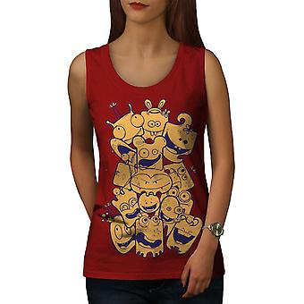 Cartoon Face Happy Women RedTank Top | Wellcoda