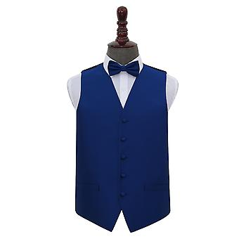 Royal Blue Solid Check Wedding Waistcoat & Bow Tie Set
