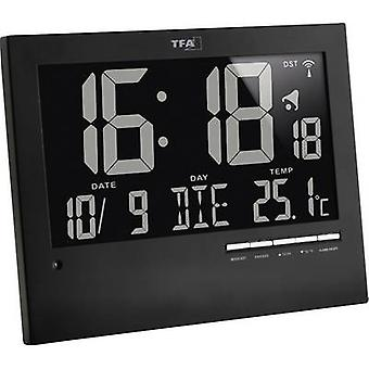 TFA Dostmann 60.4508 Radio Wall clock 185 mm x 230 mm x 31 mm Black