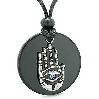 Alle ser følelse Buddha øje Hamsa Magic blå krystal vedhæng halskæde
