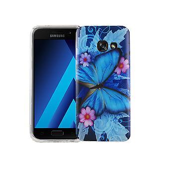 Custodia porta cellulare per motivi di borsa custodia protettiva cover Samsung Galaxy A3 2017 slim TPU + armatura farfalla 9 H blu di protezione vetro