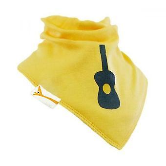 Bavoir bandana jaune & gris guitare