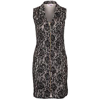 Ladies ermeløse krage V hals Zip foran blonder Floral foret Skift Sequin kjole