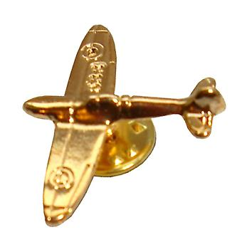 Bassin and Brown Spitfire Plane Lapel Pin - Gold
