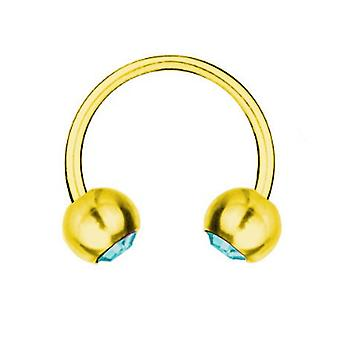 Circular Barbell Piercing Gold plattiert Titan 1,6 mm, SWAROVSKI Elemente Aqua