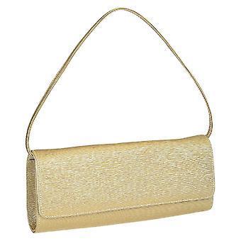 Gold satin evening clutch bag