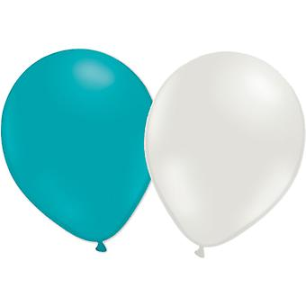 """Balloons 12-pack turquoise and white-30 cm (12 """")"""