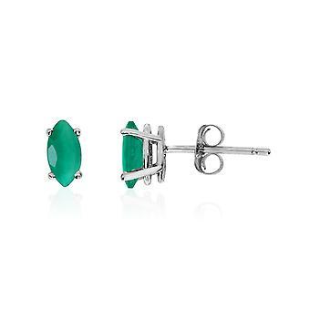 LXR 14k Valkoinen Kulta Smaragdi Markiisi Korvakorut 0.3ct
