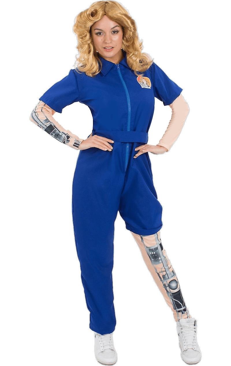 Orion Costumes Womens Blue  Bionic Woman Jumpsuit 70s TV Fancy Dress Costume