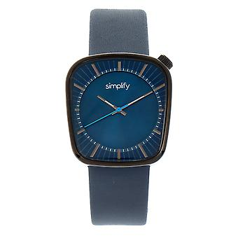 Simplify The 6800 Leather-Band Watch - Black/Navy