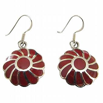 Coral Inlay Flower Earrings 925 Silver Sterling Silver Earring