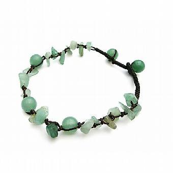 Pietra verde Jade Nugget intrecciata Bracciale giada verde perline braccialetto