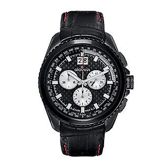 GROVANA 1621.9577 Swiss-quartz, black dial, black leather strap, Chronograph and Display color: black