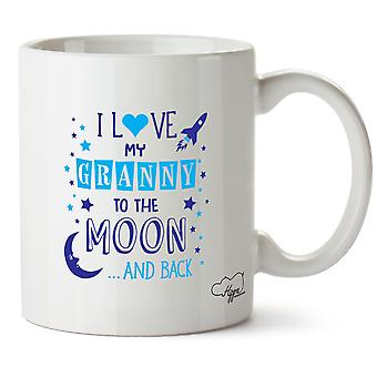 Hippowarehouse I Love My Granny To The Moon And Back (Blue) Printed Mug Cup Ceramic 10oz
