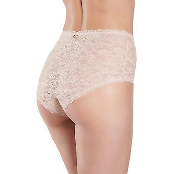 Aubade HK24 Women's Rosessence Nude D'ete Floral Lace Full Panty Highwaist Brief
