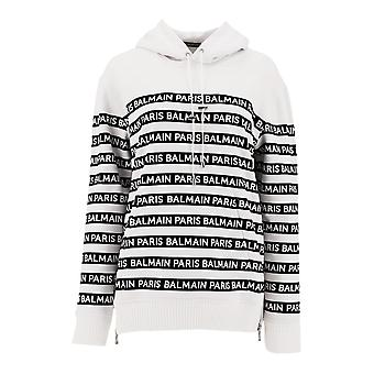 Balmain White/black Cotton Sweatshirt
