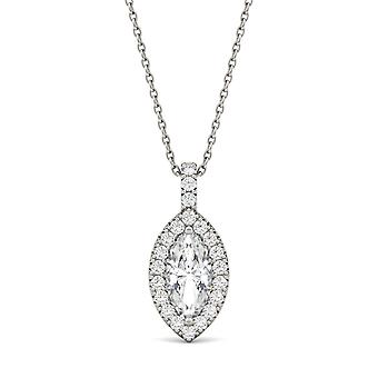 14K White Gold Moissanite by Charles & Colvard 10x5mm Marquise Pendant Necklace, 1.30cttw DEW