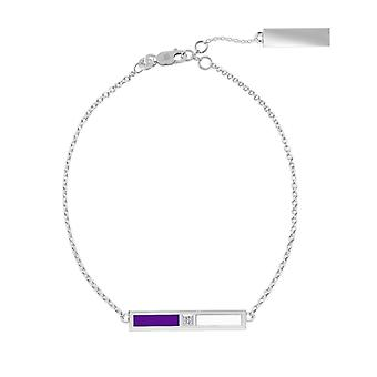 New York University Sterling Silver Diamond Bar Chain Bracelet In Purple and White