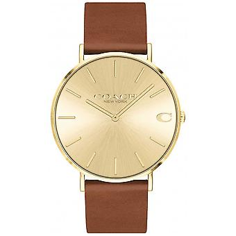 Coach   Mens   Charles   Brown Leather Strap   Gold Dial   14602433 Watch