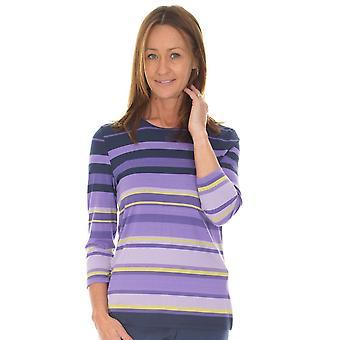 LEBEK Lebek Indigo Lilac Stripes T-Shirt 35710019