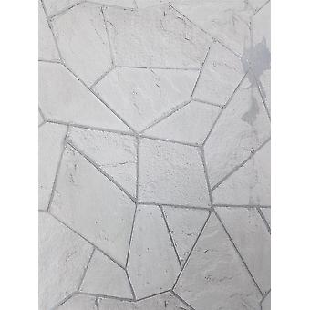 Grijze bakstenen behang wit steen leisteen geometrische metalen betonnen hoeken