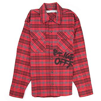Off-White Off Bianco Controllato Oversized Flannel Overshirt Rosso/nero