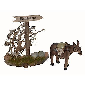 Ezel met Bethlehem teken wegwijzer voederbak geboorte stabiel Nativity accessoires