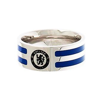 Chelsea FC Official Colour Stripe Football Crest Ring
