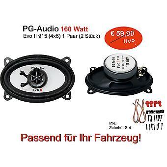 PG Audio 9 x 15 cm 2-vejs coaxial højttaler, 4 x 6 tommer, 160 watt, 1 par B ware