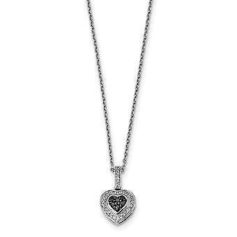925 Sterling Zilver gepolijst Open Terug Gift Boxed Rhodium vergulde Kreeft Claw Closure Black Diamond Small Love Heart Pen