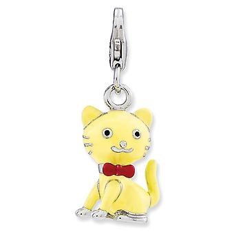 925 Sterling Silver Rhodium plated Fancy Lobster Closure Enameled 3 d Cat With Bow Tie W Lobster Clasp Charm Pendant Nec