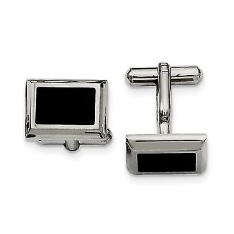 Stainless Steel Polished IP black plated Black plated Cuff Links Jewelry Gifts for Men