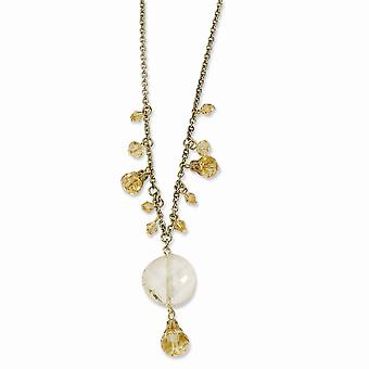 Gold tone Fancy Lobster Closure Yellow Crystal Drop 16 Inch With ext Necklace Jewelry Gifts for Women